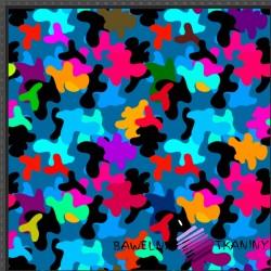 Dzianina Jersey druk cyfrowy - moro kolorowe na niebieskim tle