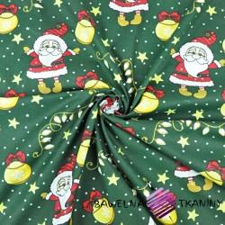 Bawełna wzór świąteczny mikołaje z bombkami na ciemno zielonym tle
