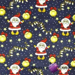 Bawełna wzór świąteczny mikołaje z bombkami na granatowym tle
