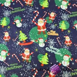 Bawełna wzór świąteczny mikołaje z bałwankami na granatowym tle