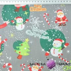 Bawełna wzór świąteczny mikołaje z bałwankami na szarym tle