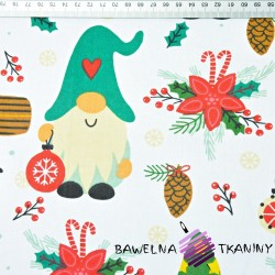 Bawełna wzór świąteczny kolorowe skrzaty z latarenkami na białym tle