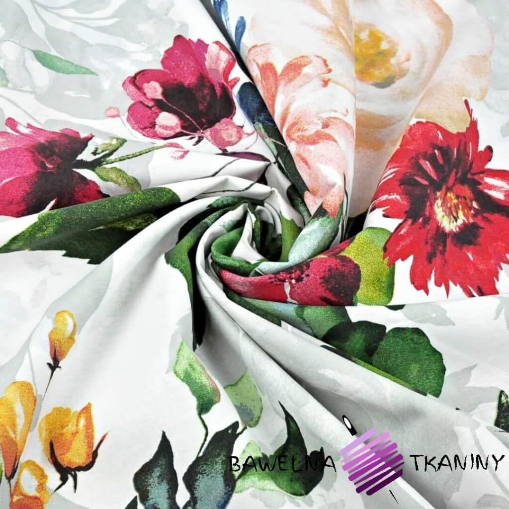 Kwiaty duże granatowe, czerwone i ecru na białym tle - 220cm