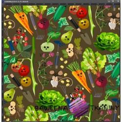 Dzianina Jersey druk cyfrowy warzywa na straganie na brązowym tle