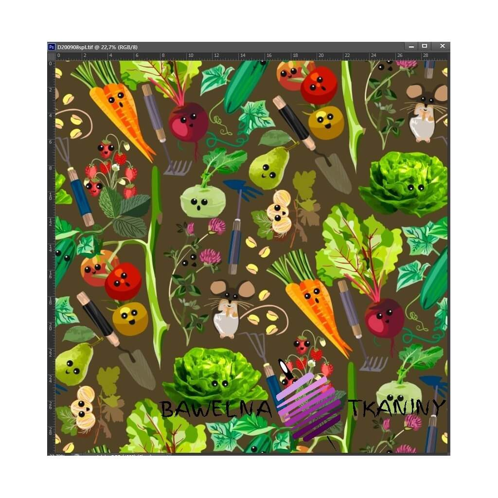 Cotton Jersey knit digital printing of vegetables on a market stall on brown background