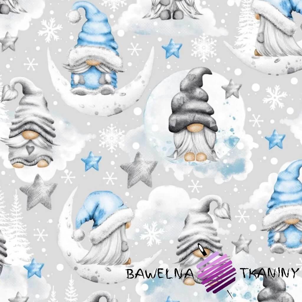 Bawełna wzór świąteczny skrzaty z gwiazdkami niebieski na szarym tle