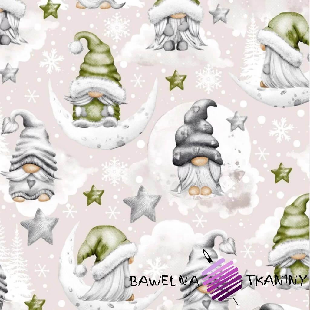 Bawełna wzór świąteczny skrzaty z gwiazdkami zielone na beżowym tle