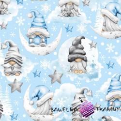 Bawełna wzór świąteczny skrzaty z gwiazdkami szaro niebieskie na niebieskim tle