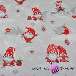 Bawełna wzór świąteczny skrzaty z liśćmi paproci na szarym tle