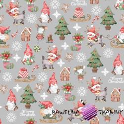 Bawełna wzór świąteczny skrzaty z myszkami na szarym tle