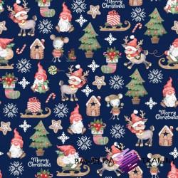 Bawełna wzór świąteczny skrzaty z myszkami na granatowym tle