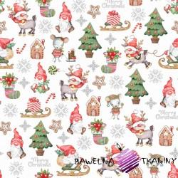 Bawełna wzór świąteczny skrzaty z myszkami na białym tle