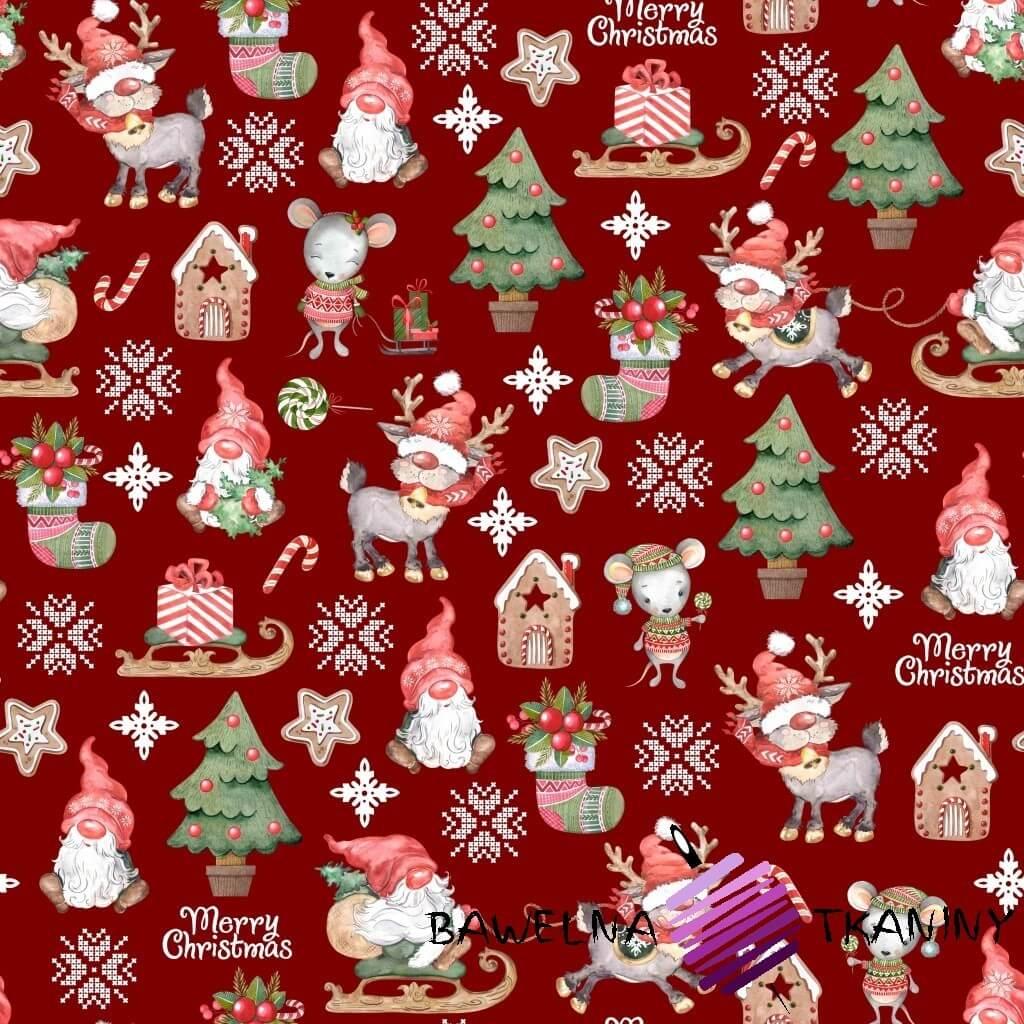 Bawełna wzór świąteczny skrzaty z myszkami na czerwonym tle