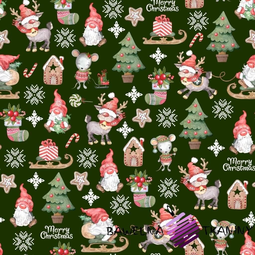 Bawełna wzór świąteczny skrzaty z myszkami na zielonym tle