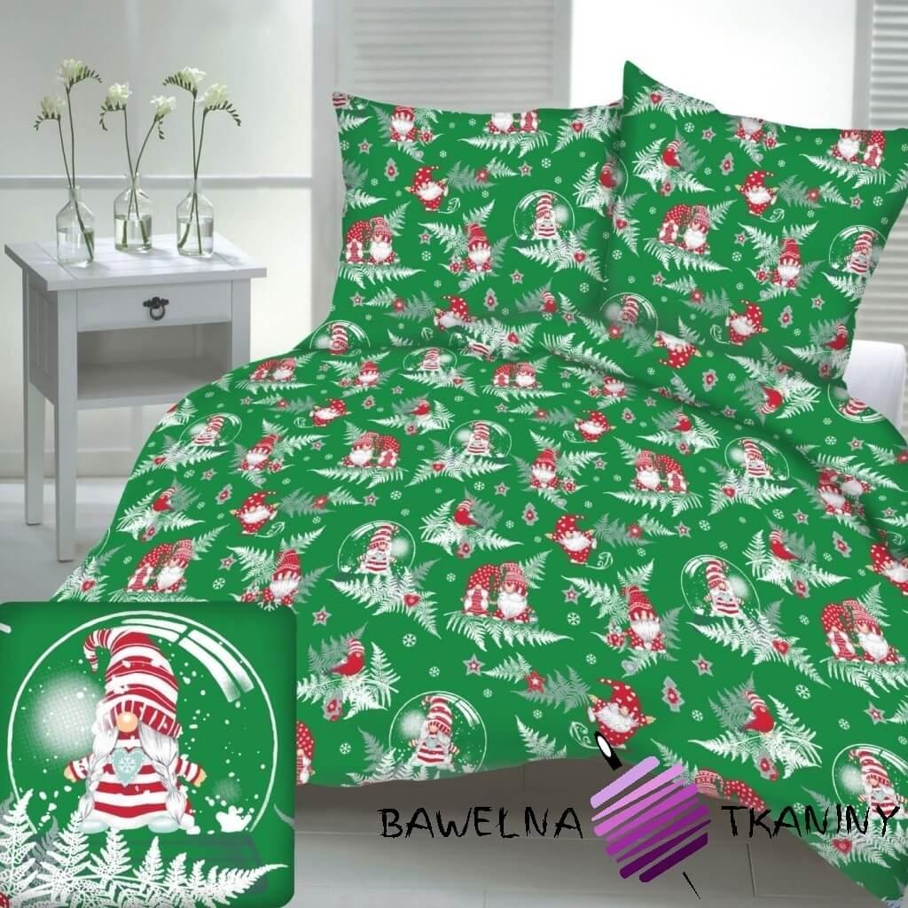 Bawełna wzór świąteczny skrzaty z liśćmi paproci na zielonym tle