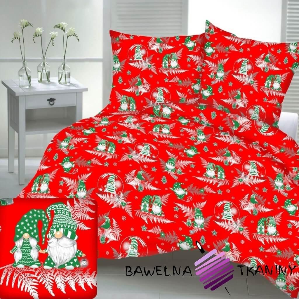 Bawełna wzór świąteczny skrzaty z liśćmi paproci na czerwonym tle