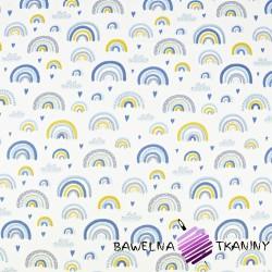 tęcze niebiesko-żółte na białym tle