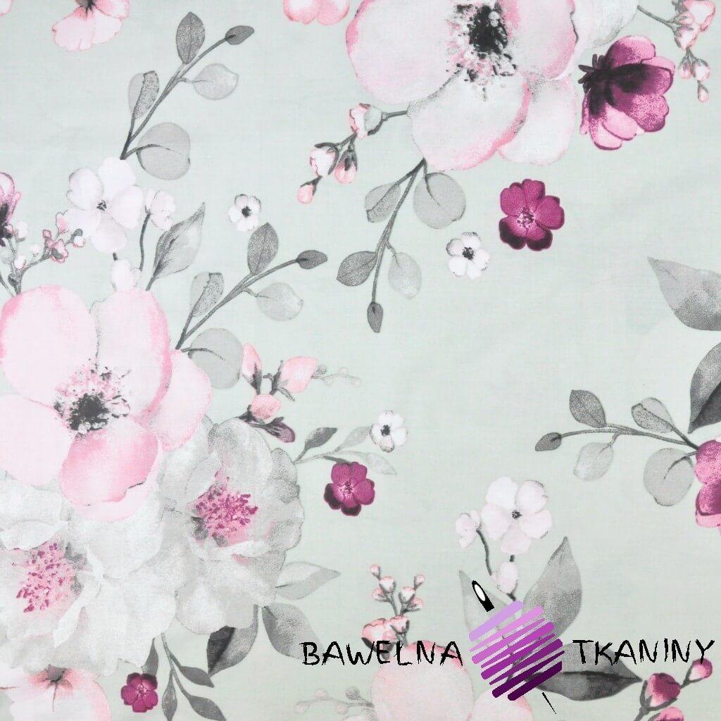 kwiaty jabłoni duże różowo szare na białym tle