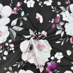kwiaty jabłoni duże różowo białe na czarnym tle - 220cm