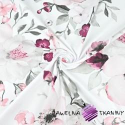 kwiaty jabłoni duże różowo szare na białym tle - 220cm
