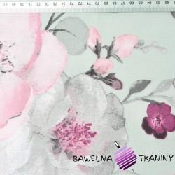 kwiaty jabłoni duże różowo szare na szarym tle - 220cm