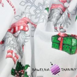 Flanela wzór świąteczny skrzaty w parach ze śnieżynkami na białym tle