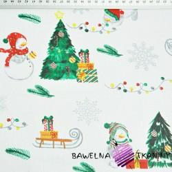 Bawełna wzór świąteczny bałwanki z sankami na białym tle
