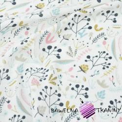 Tetra bawełniana Krzaczki pastelowe z jarzębiną na białym tle