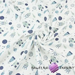Tetra bawełniana kosmos MINI niebieski na białym tle
