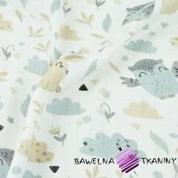 Tetra bawełniana sówki z króliczkami beżowo szare na białym tle