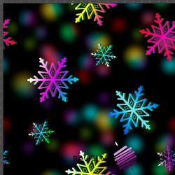 Dresówka pętelka druk cyfrowy - śnieżynki kolorowe na czarnym tle