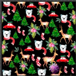 Dzianina Jersey druk cyfrowy świąteczne misie z sarenkami na czarnym tle