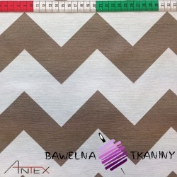 Curtain Fabric white & beige zigzag