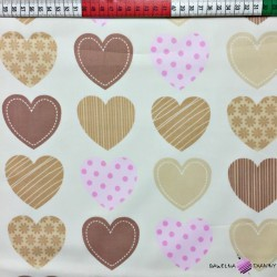 Cotton beige hearts on ecru background