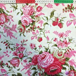 Cotton pink roses with berry on ecru background