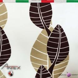 Bawełna liście brązowe CANVAS