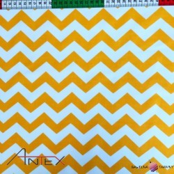 Cotton white & orange zigzag