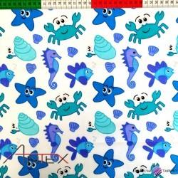 Bawełna niebieskie morskie stworzenia
