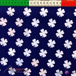 Cotton white clover on navy blue background
