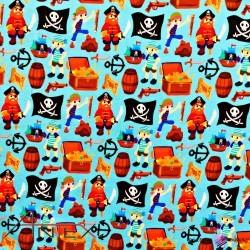 Dzianina Piraci na błękitnym tle