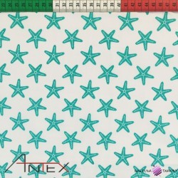Bawełna Rozgwiazdy turkusowe na białym tle