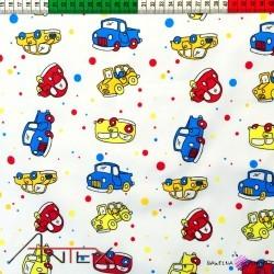 Bawełna żółto niebieskie samochody z kropeczkami
