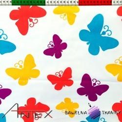Bawełna Kolorowe motyle duże na białym tle
