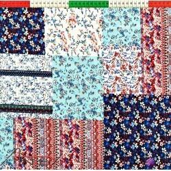 Bawełna patchwork kwiaty kolorowe