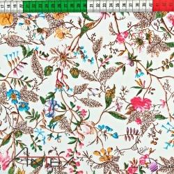 Bawełna drobne pnącza kolorowe na ecrue tle