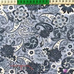 Bawełna wzór kwiatowy granatowy na niebieskim tle