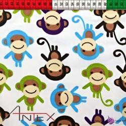 Bawełna Małpki kolorowe na białym tle