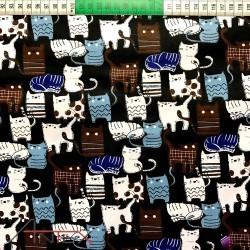Bawełna kotki czarne tło
