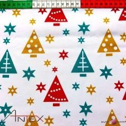 Bawełna wzór świąteczne kolorowe choinki