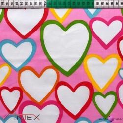 Bawełna kolorowe serduszka na różowym tle
